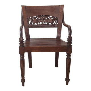 Vintage Mid Century Hand Carved Elephants Designs Back Wooden Chair For Sale