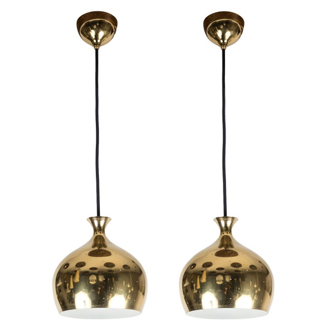 Helge Zimdal for Falkenberg 1960s Brass Perforated 'Onion' Pendants - a Pair For Sale