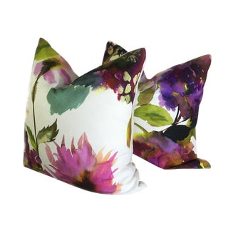 Palace Flower Grande Saffron Designers Guild Custom Pillows - Set of 2 For Sale