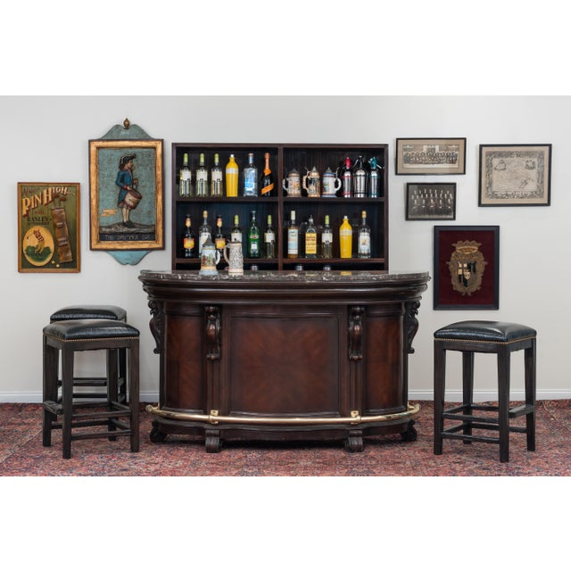 American Victorian Style Stained Wood Bar For Sale - Image 4 of 5