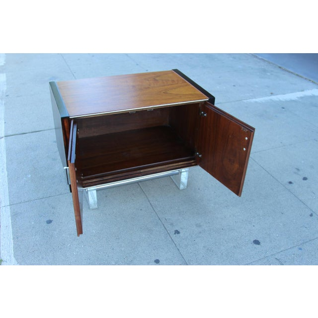 Mid-Century Wooden Nightstand on Lucite Base - Image 10 of 11