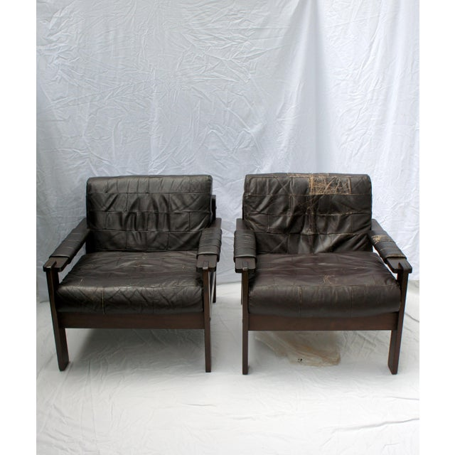 1960s Vintage Moveis Corazza Brazil Distressed Leather and Jatoba Wood Club Armchairs - a Pair For Sale - Image 11 of 11