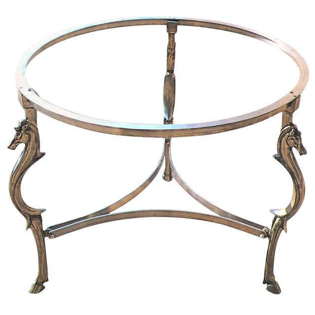 Cast Steel Center Table With Decorative Horse Heads, Attributed to Maison Jansen For Sale