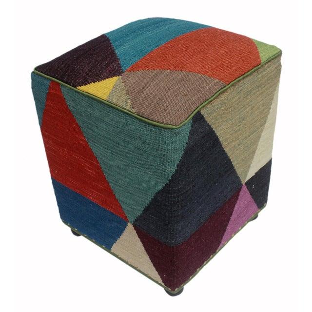 Blue Arshs Deb Ivory/Red Kilim Upholstered Handmade Ottoman For Sale - Image 8 of 8