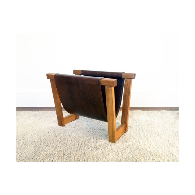 Antique Leather Strap Magazine Rack - Image 2 of 6