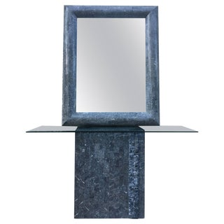 Maitland Smith Grey Tesselated Stone Console & Mirror For Sale