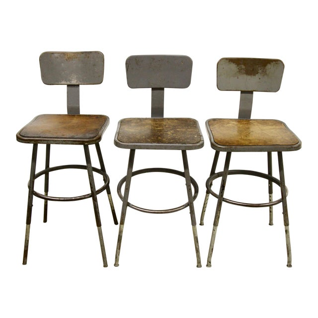 Industrial Lab Stools, S/3 For Sale