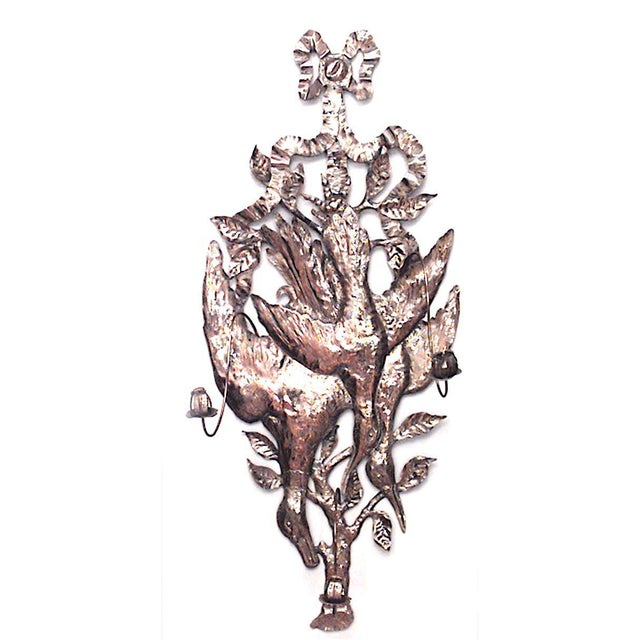 Black Forest Rustic German Style Brass Hammered Three-Arm Wall Sconces - a Pair For Sale - Image 3 of 5