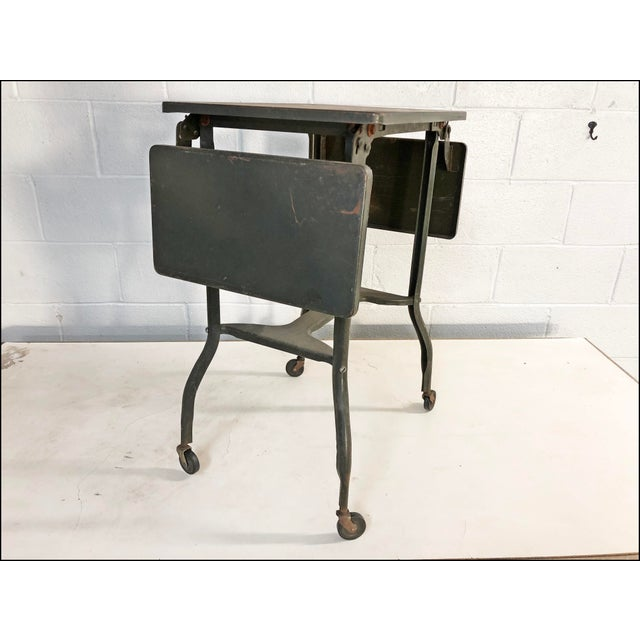 Metal Vintage Industrial Green Typewriter Table with Double Drop Leaf For Sale - Image 7 of 13