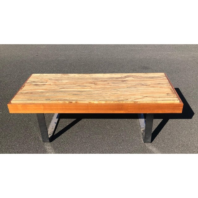 Ilse Möbel Coffee Table With Rare 'Onyx Travertine', Teak & Chrome From Germany For Sale - Image 11 of 12