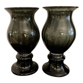 Vintage Wayne Husted Blenko Art Glass Charcoal Gray Ribbed Urn/Vase With Clear Band - a Pair For Sale