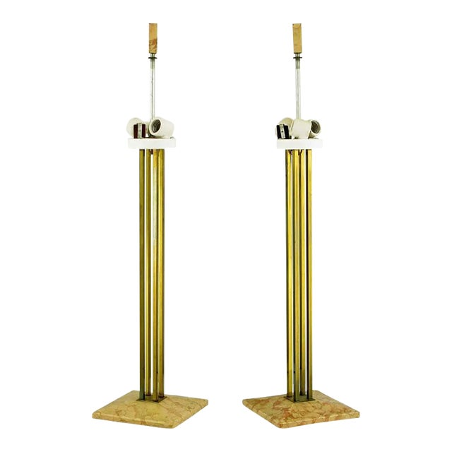 Pair of circa 1950s Stiffel Rouge Marble and Square Brass Columns Table Lamps - Image 1 of 6