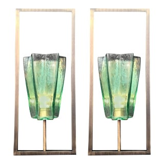Architectural Emerald Green Sconces by Fabio Ltd - a Pair For Sale