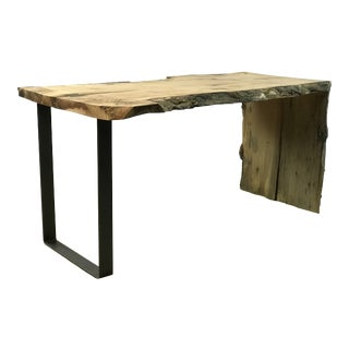 Industrial Hand Crafted Hickory Live Edge Table with Waterfall Accent For Sale