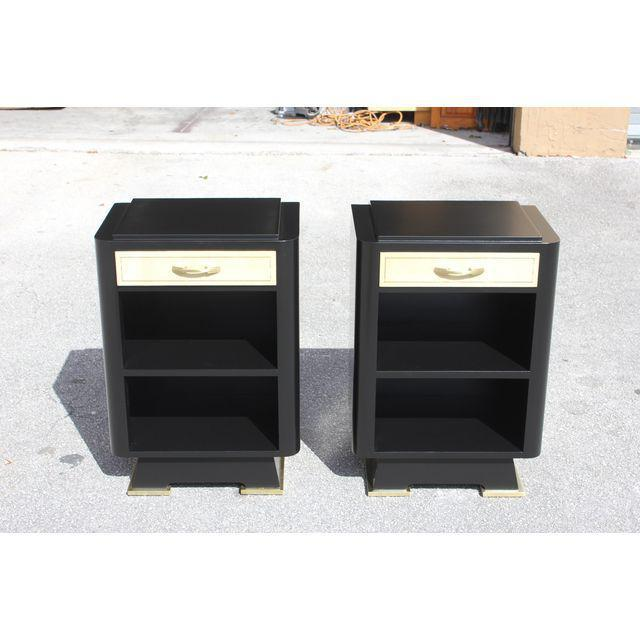 Classic Pair Of French Art Deco Parchment/ Ebonized Side Table / Nightstands, Circa 1940's - Image 7 of 11
