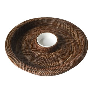 Artifacts Rattan Chip & Dip Serving Tray For Sale