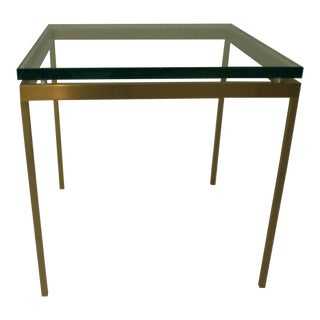 Brueton Gold Finish Stainless Steel and Glass Top Side Table For Sale