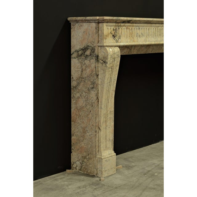 Tan Antique Escallete Marble Louis XVI Fireplace Mantel - Free Shipping - For Sale - Image 8 of 9
