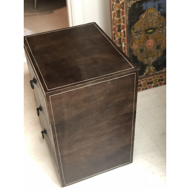 2010s Mid-Century Modern Brown Leather Chest of Drawers For Sale - Image 5 of 9