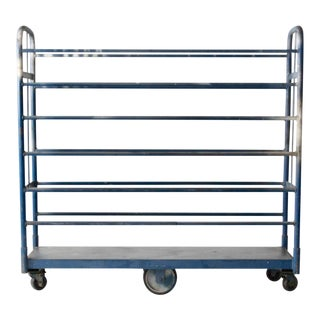 Vintage Industrial Blue Metal Cart For Sale