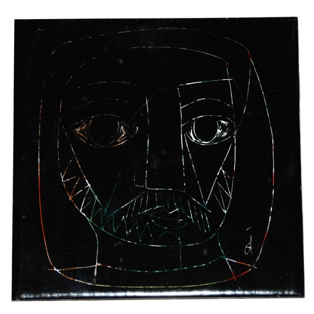 1960s Abstract Mid-Century Tile of Man's Face - Image 1 of 6