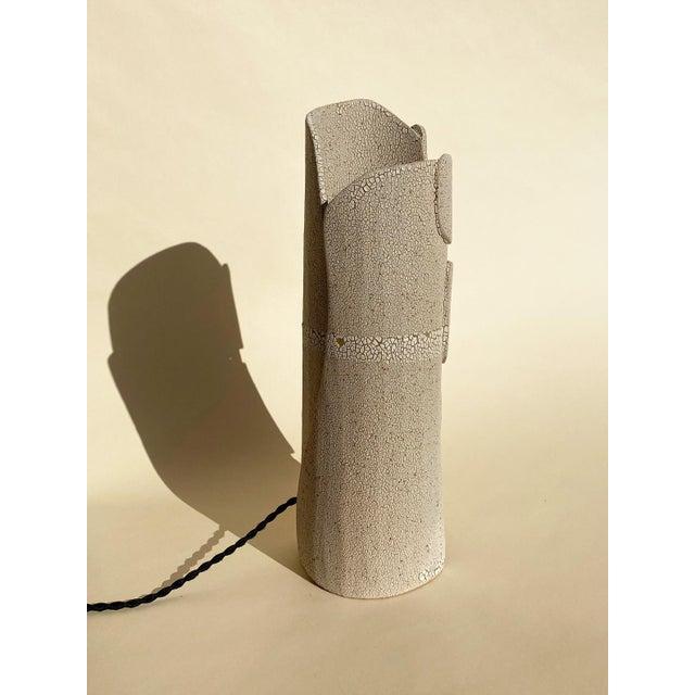Modern Mat White Sculptural Ceramic Lamp For Sale - Image 4 of 6