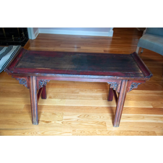 Chinese Red Altar Console Table For Sale - Image 12 of 13