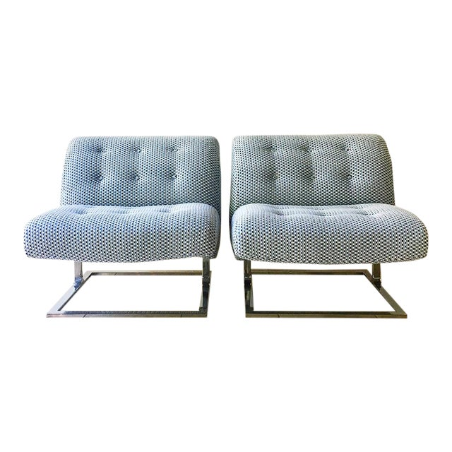 Pair of Cantilever Nickel Plated Steel Framed Lounge Chairs 1960s For Sale
