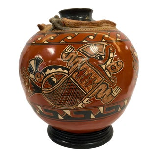 Aztec Hand-Painted Ceramic Funeral Urn For Sale
