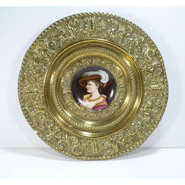 Brass Antique Brass Repousse Charger W Handpainted Porcelain Portrait Woman W Hat For Sale - Image 7 of 7