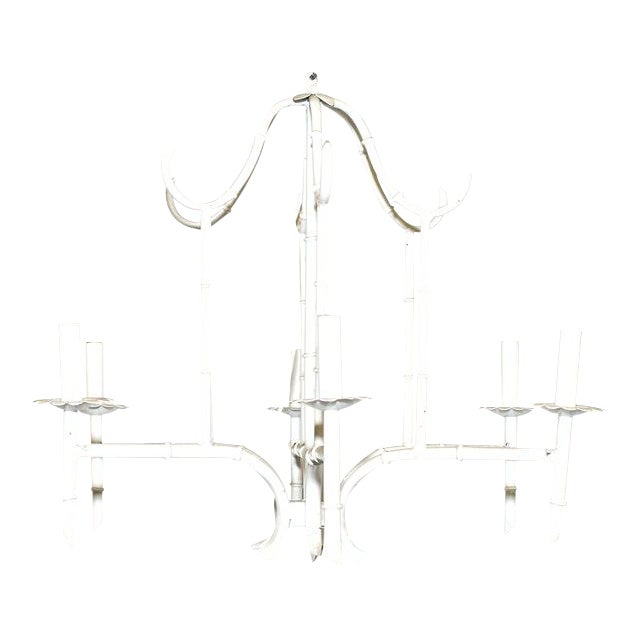White Vintage Faux Bamboo Chandelier For Sale