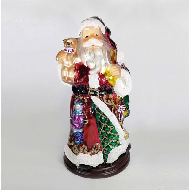 """Wood Mid 20th Century Authentic Thomas Pacconi Classics 14"""" Glass Blown Handpainted Santa Claus For Sale - Image 7 of 7"""