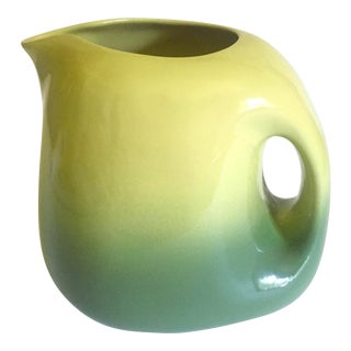 Rare Vintage 1950's Mid Century Modern Tamac Art Pottery Avocado Green Large Handled Ceramic Pitcher For Sale