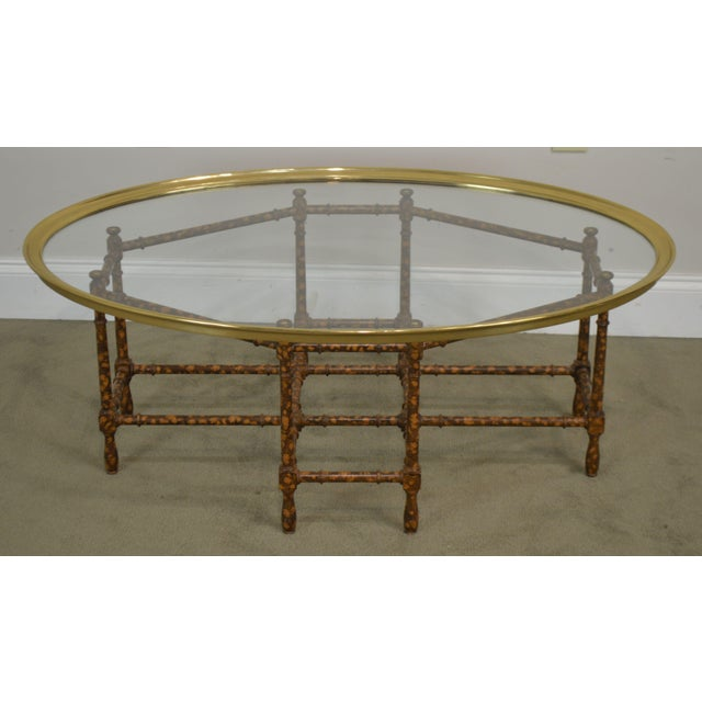 Baker Faux Bamboo Tortise Shell Painted Brass & Glass Tray