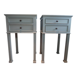 Noir Graham Painted in Blue Fir Finish Side Tables - a Pair For Sale