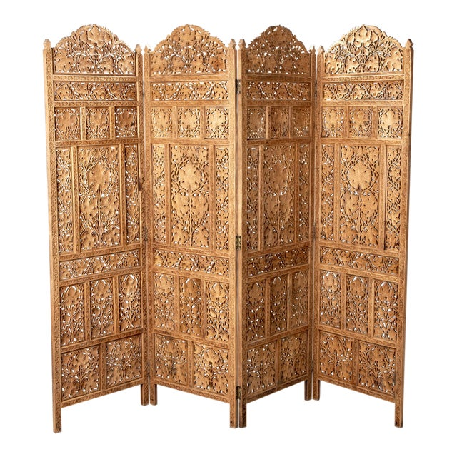 19th Century Anglo-Indian Elaborately Carved Four Panel Screen For Sale