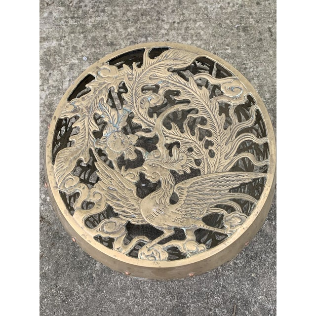 Vintage Brass Faux Bamboo and Fretwork Design Garden Stool For Sale - Image 9 of 13