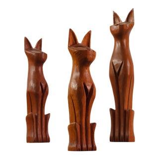 Danish Modern Hand Carved Cat Sculptures in Teak - Set of 3 For Sale