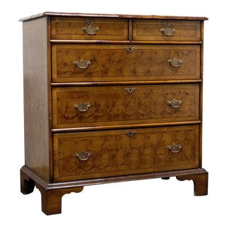 Antique English Chippendale Inlaid Laburnum Oyster Chest For Sale