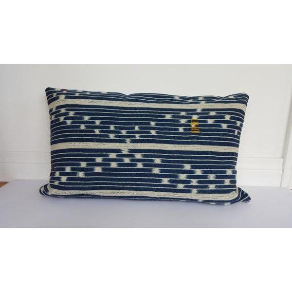 Vintage African Indigo Mudcloth Lumbar Pillow - Image 2 of 5