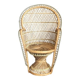 1970s Boho Chic Wicker Peacock Chair Plant Stand