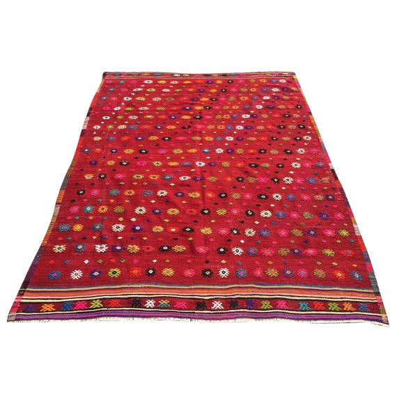 Vintage Turkish Kilim Rug - 6′ × 7′11″ For Sale