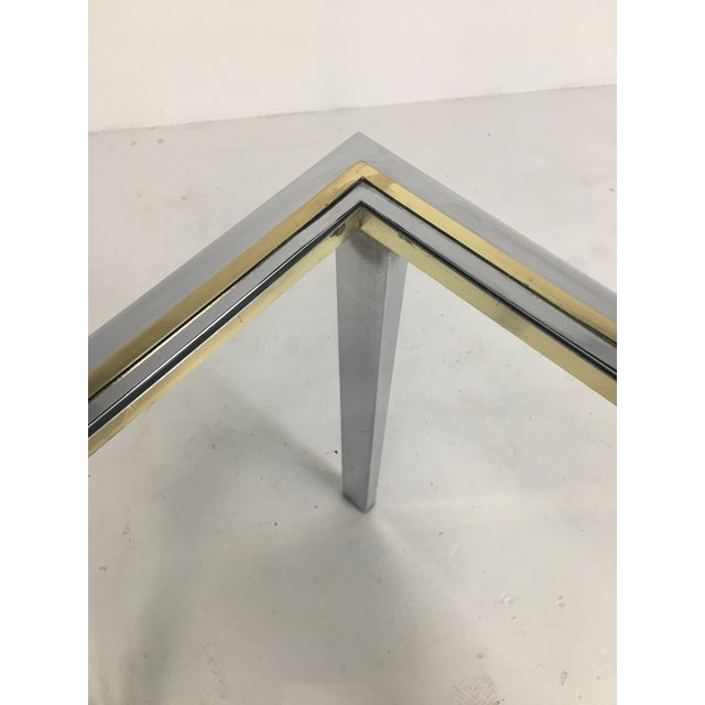 20th Century Minimalist Chrome and Glass Parsons Console Table With Brass Accents For Sale - Image 10 of 13