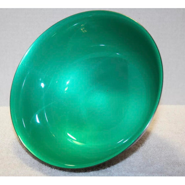 Reed & Barton Silver Plated & Bright Green Enamel Bowl For Sale - Image 5 of 10