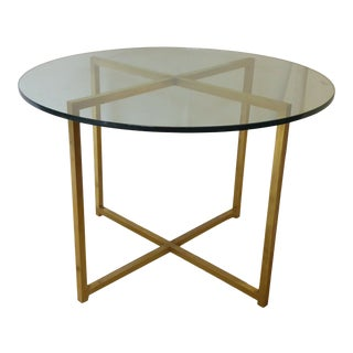 Vintage Modern Brass & Glass Round Coffee Table For Sale