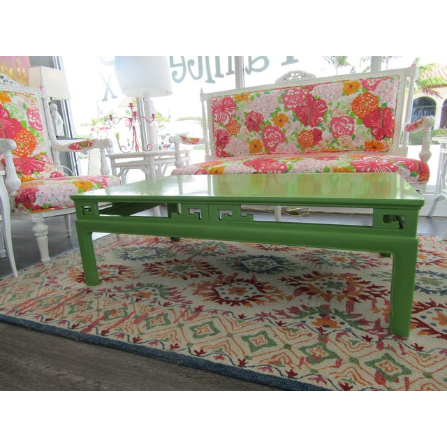 1970s Chinoiserie Large New Green Lacquer Coffee Table For Sale - Image 4 of 6