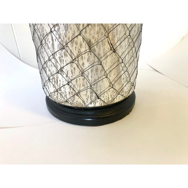Silver Coastal Inspired Mercury Glass Lamp For Sale - Image 8 of 10