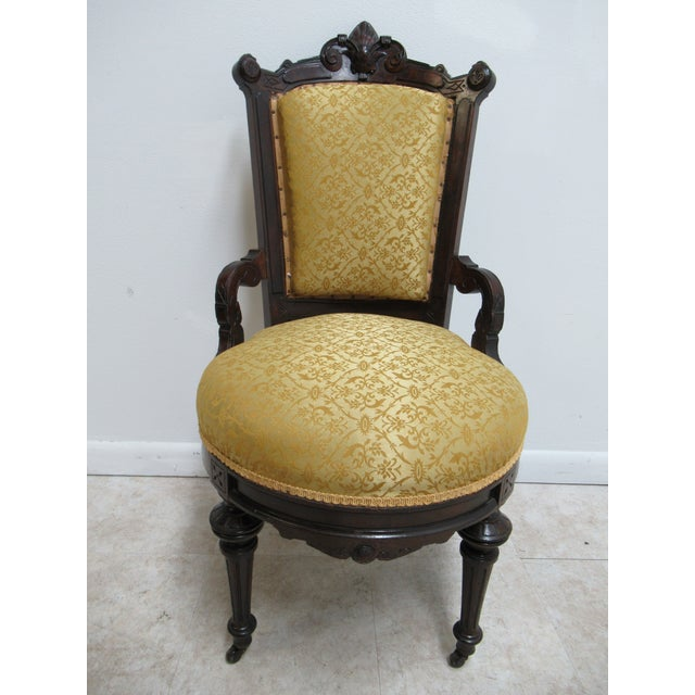 Antique Victorian East Lake Carved Dining Room Side Desk Chair Great Shape. Minor age related wear.. few old repairs....