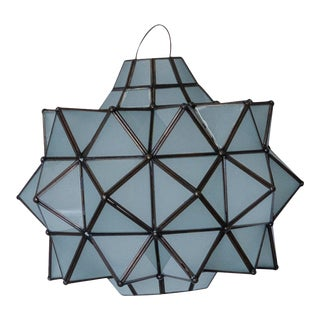 Mexican Handmade Newton Star Frosted Glass Pendant Light For Sale