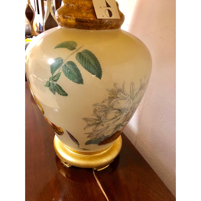 Chinoiserie Style Floral & Botanical Table Lamp For Sale - Image 4 of 8